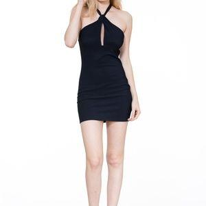 SEXY NAVY HALTER NECK SHORT DRESS